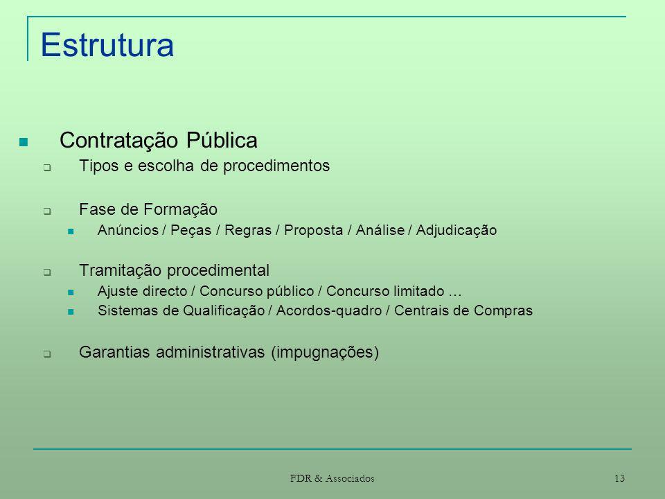 FDR & Associados 13 Estrutura Contratação Pública Tipos e escolha de procedimentos Fase de Formação Anúncios / Peças / Regras / Proposta / Análise / A