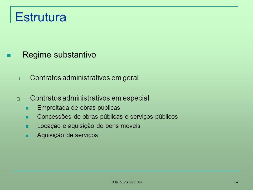 FDR & Associados 14 Estrutura Regime substantivo Contratos administrativos em geral Contratos administrativos em especial Empreitada de obras públicas