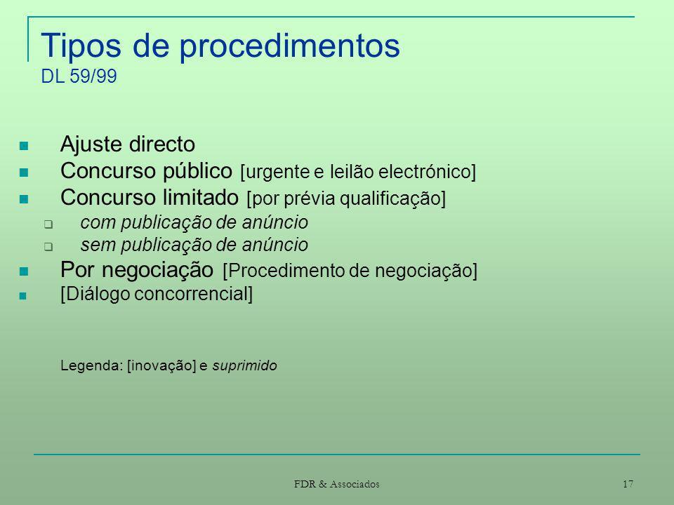 FDR & Associados 17 Tipos de procedimentos DL 59/99 Ajuste directo Concurso público [urgente e leilão electrónico] Concurso limitado [por prévia quali
