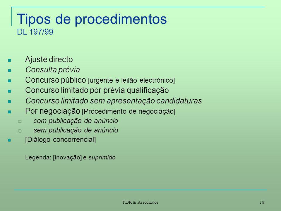FDR & Associados 18 Tipos de procedimentos DL 197/99 Ajuste directo Consulta prévia Concurso público [urgente e leilão electrónico] Concurso limitado