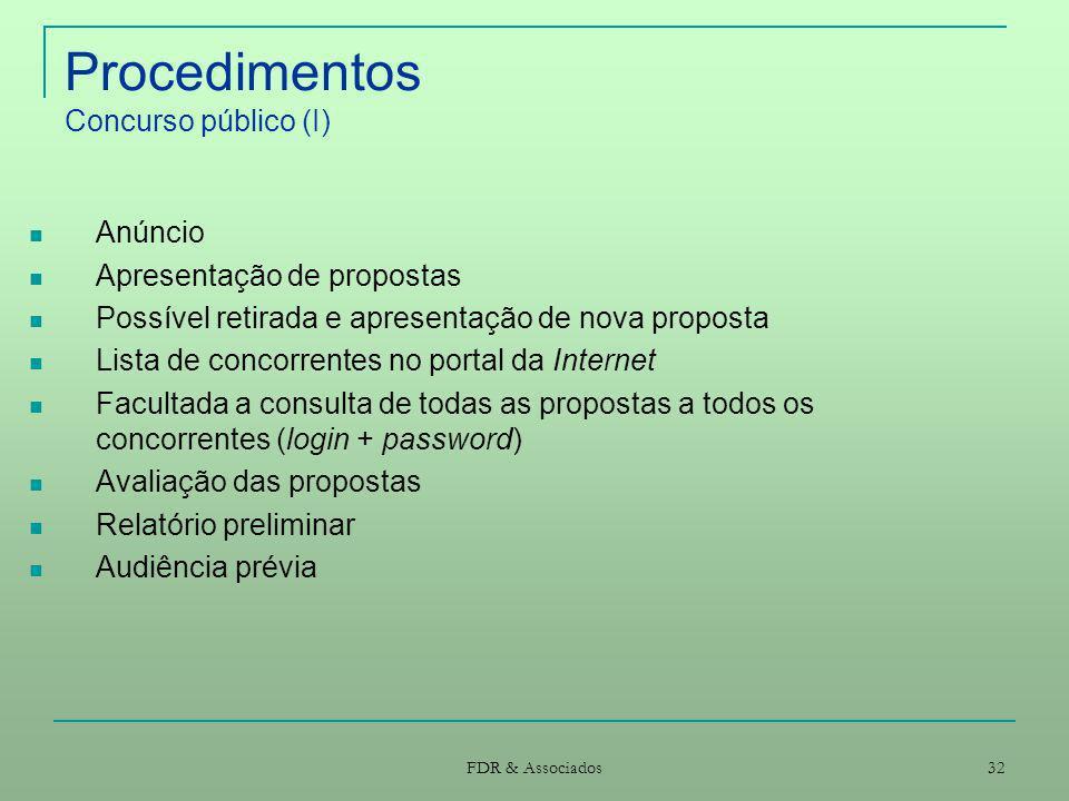 FDR & Associados 32 Procedimentos Concurso público (I) Anúncio Apresentação de propostas Possível retirada e apresentação de nova proposta Lista de co