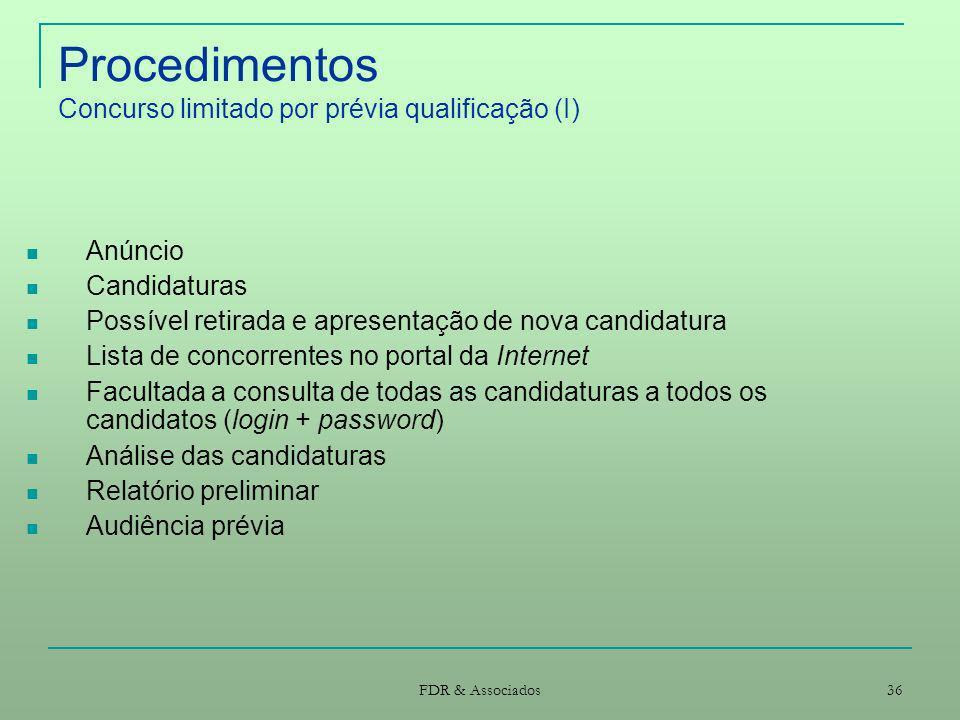 FDR & Associados 36 Procedimentos Concurso limitado por prévia qualificação (I) Anúncio Candidaturas Possível retirada e apresentação de nova candidat