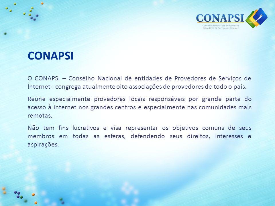 CONAPSI O CONAPSI – Conselho Nacional de entidades de Provedores de Serviços de Internet - congrega atualmente oito associações de provedores de todo