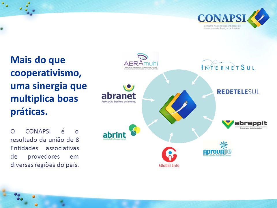 Através de suas Entidades associativas, o CONAPSI representa 3000 provedores de 5300 cidades do Brasil, cobrindo 95% do território nacional com acesso de qualidade à internet.