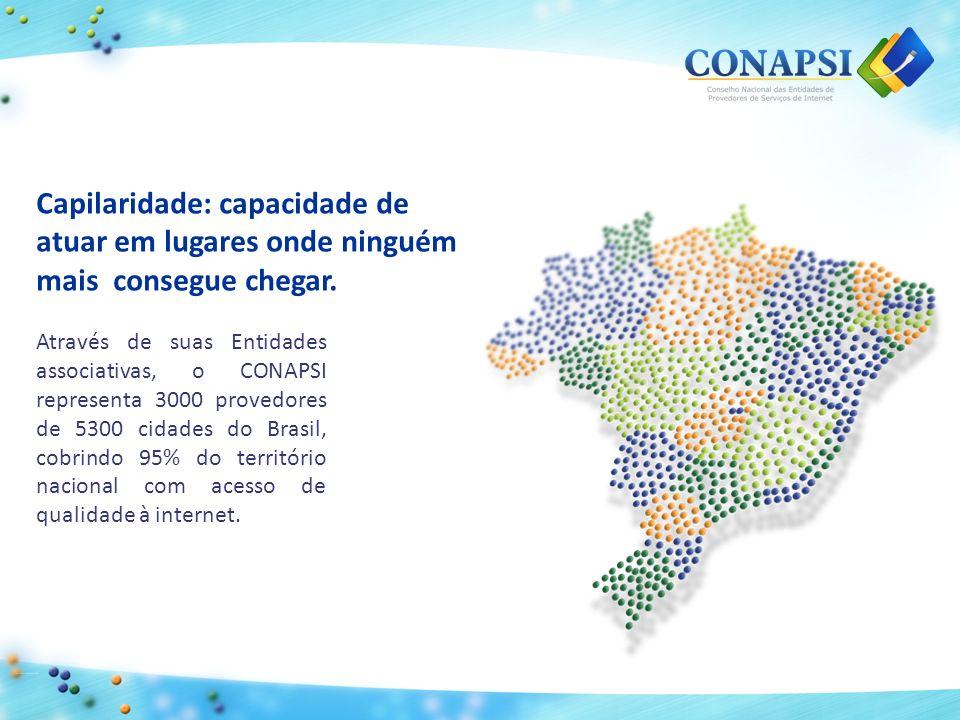 Através de suas Entidades associativas, o CONAPSI representa 3000 provedores de 5300 cidades do Brasil, cobrindo 95% do território nacional com acesso