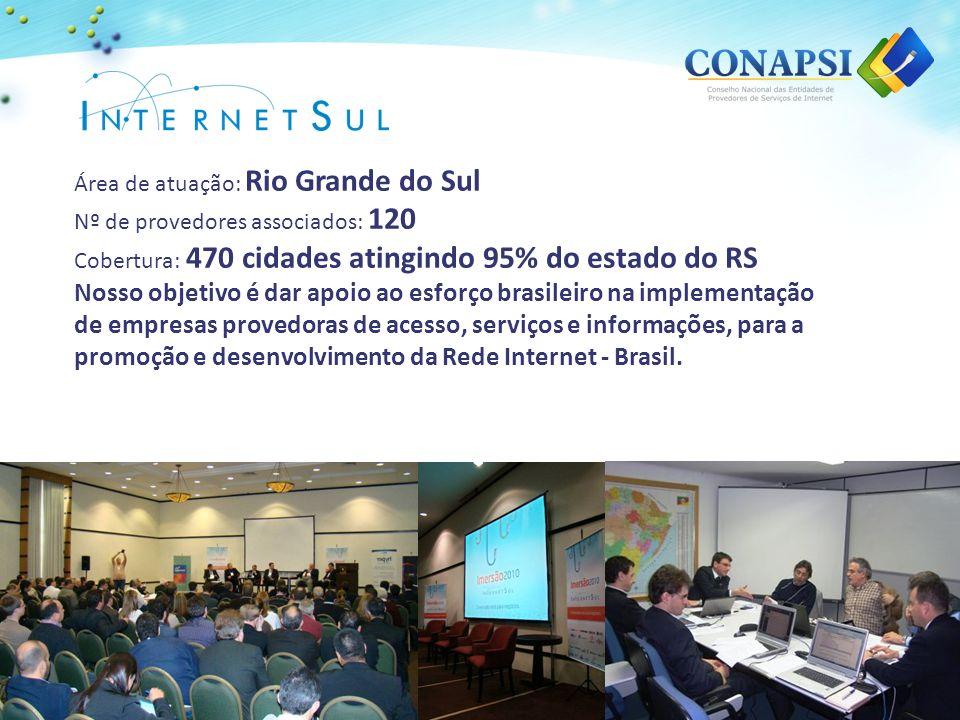 Área de atuação: Rio Grande do Sul Nº de provedores associados: 120 Cobertura: 470 cidades atingindo 95% do estado do RS Nosso objetivo é dar apoio ao