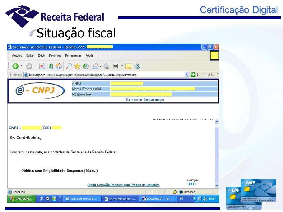 Certificação Digital Situação fiscal