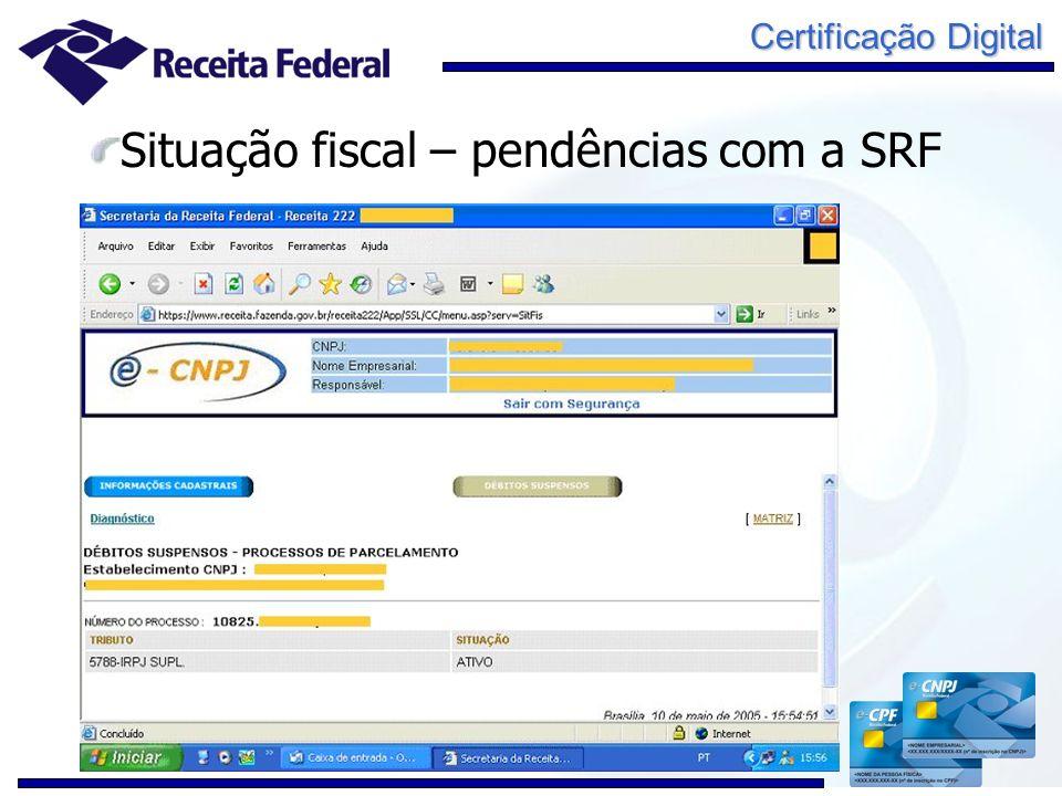 Certificação Digital Situação fiscal – pendências com a SRF