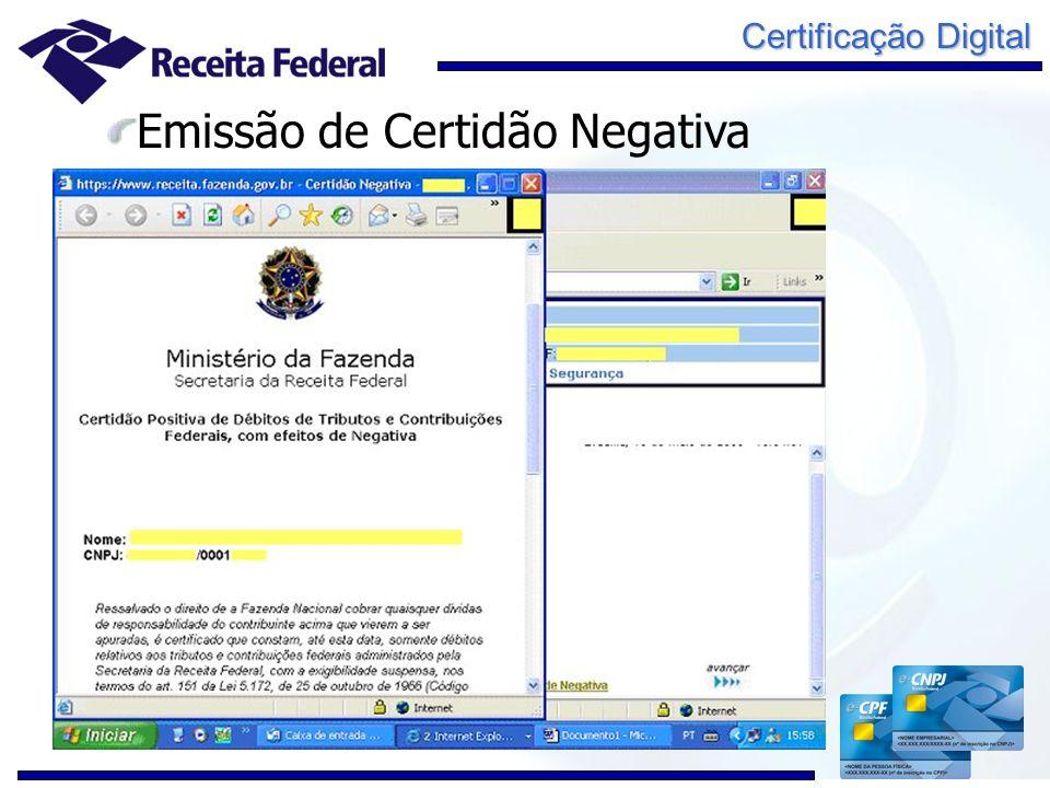 Certificação Digital Emissão de Certidão Negativa