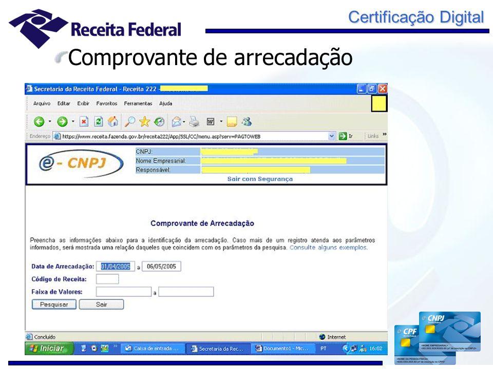 Certificação Digital Comprovante de arrecadação