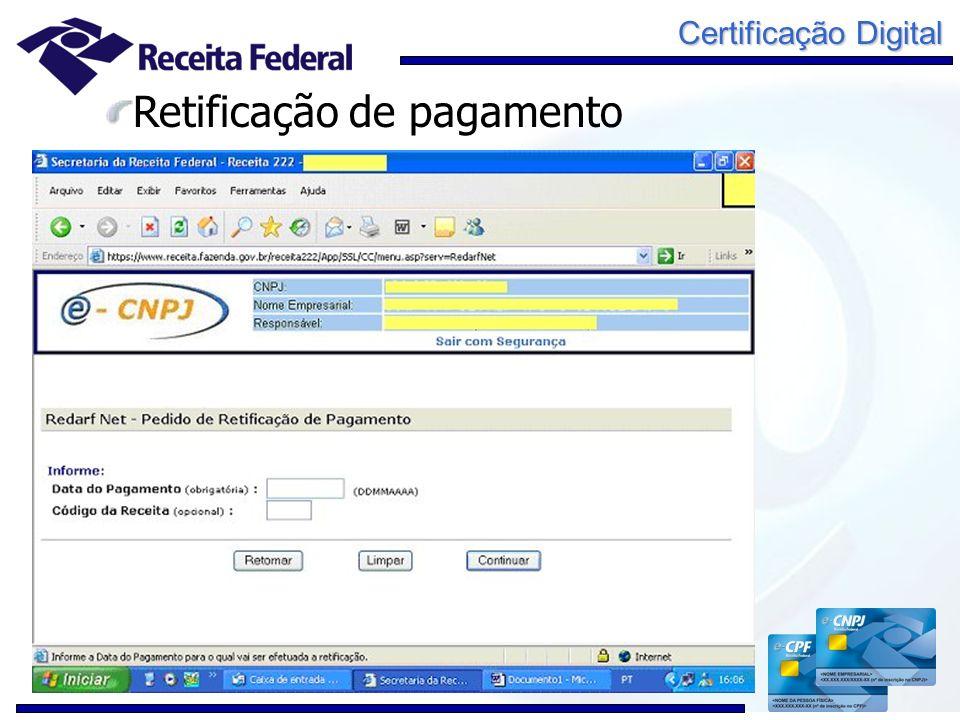 Certificação Digital Retificação de pagamento