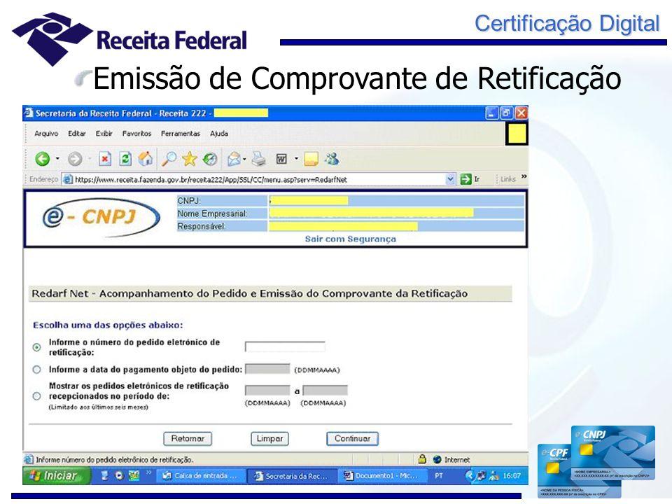 Certificação Digital Emissão de Comprovante de Retificação