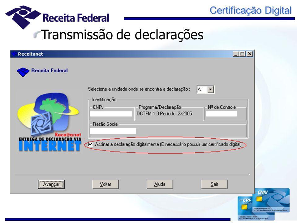 Certificação Digital Transmissão de declarações