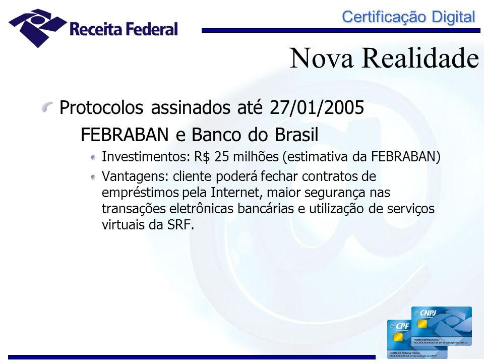 Certificação Digital Protocolos assinados até 27/01/2005 FEBRABAN e Banco do Brasil Investimentos: R$ 25 milhões (estimativa da FEBRABAN) Vantagens: c
