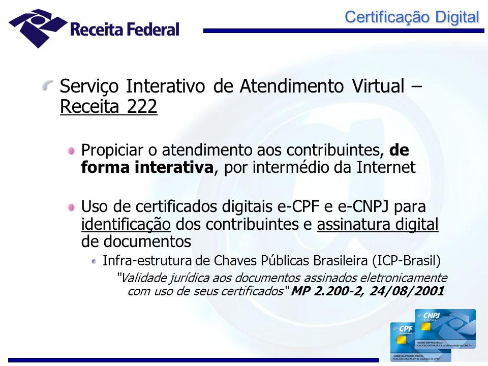 Certificação Digital Serviço Interativo de Atendimento Virtual – Receita 222 Propiciar o atendimento aos contribuintes, de forma interativa, por inter