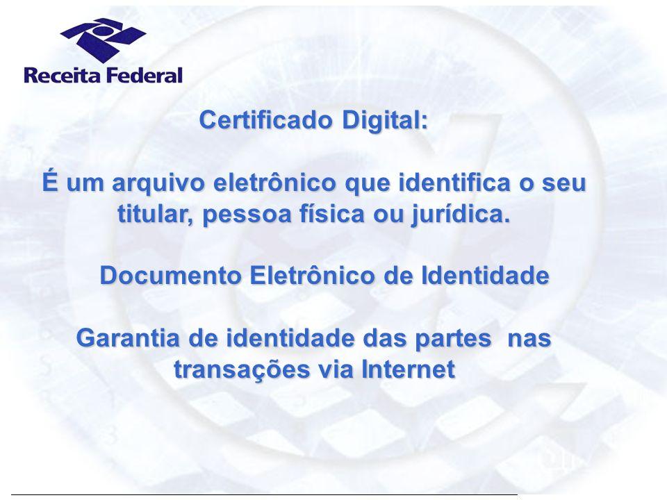 Certificação Digital A Certificação Digital GARANTE nas transações eletrônicas : -Privacidade: as informações NÃO serão lidas por terceiros; - Integridade: as informações NÃO foram alteradas no caminho percorrido; - Autenticidade: a identidade de origem e destino da informação; - Assinatura Digital: afere a origem e a integridade de um documento eletrônico; - Não repúdio: garantia de que somente o titular do Certificado Digital poderia ter realizado determinada operação