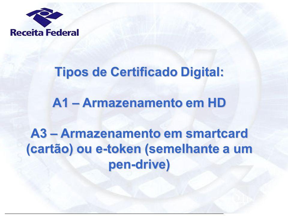 Certificação Digital Tipos de Certificado Digital: A1 – Armazenamento em HD A3 – Armazenamento em smartcard (cartão) ou e-token (semelhante a um pen-d