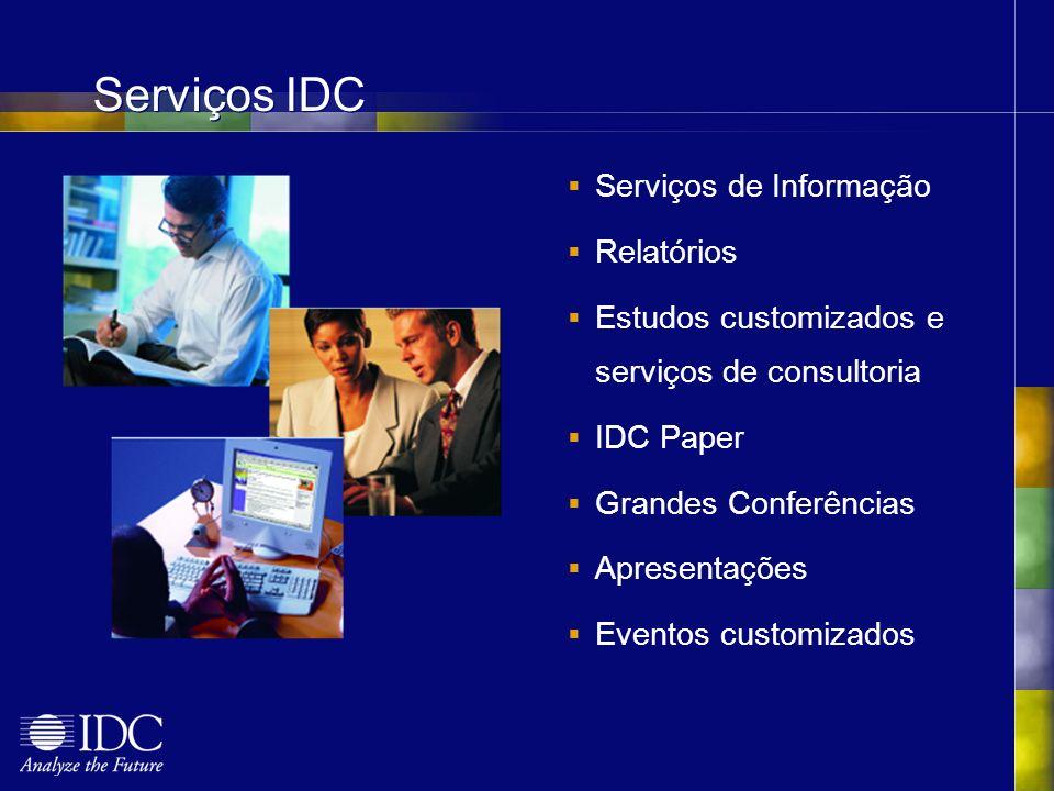 Serviços IDC Serviços de Informação Relatórios Estudos customizados e serviços de consultoria IDC Paper Grandes Conferências Apresentações Eventos customizados