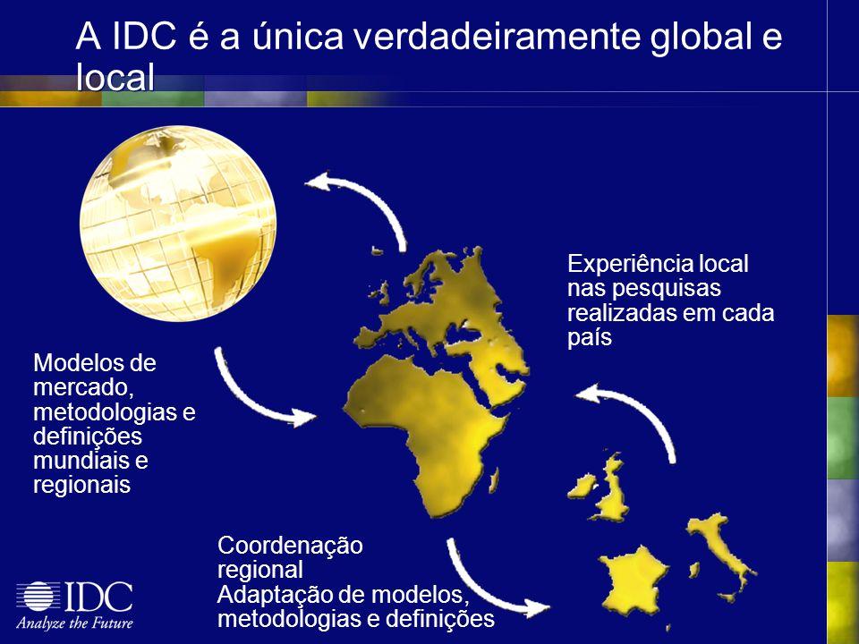 A IDC é a única verdadeiramente global e local Modelos de mercado, metodologias e definições mundiais e regionais Coordenação regional Adaptação de modelos, metodologias e definições Experiência local nas pesquisas realizadas em cada país