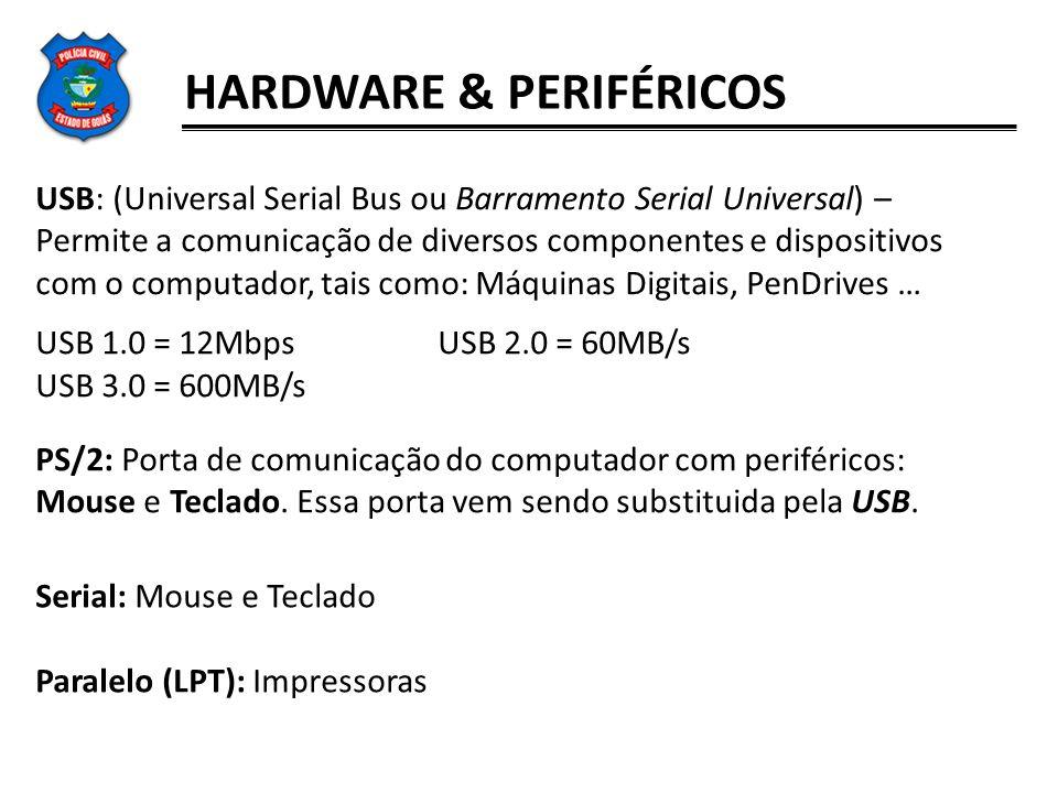 HARDWARE & PERIFÉRICOS USB: (Universal Serial Bus ou Barramento Serial Universal) – Permite a comunicação de diversos componentes e dispositivos com o