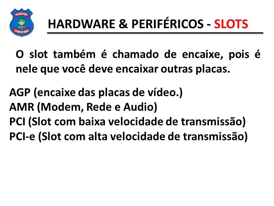 O slot também é chamado de encaixe, pois é nele que você deve encaixar outras placas. AGP (encaixe das placas de vídeo.) AMR (Modem, Rede e Audio) PCI