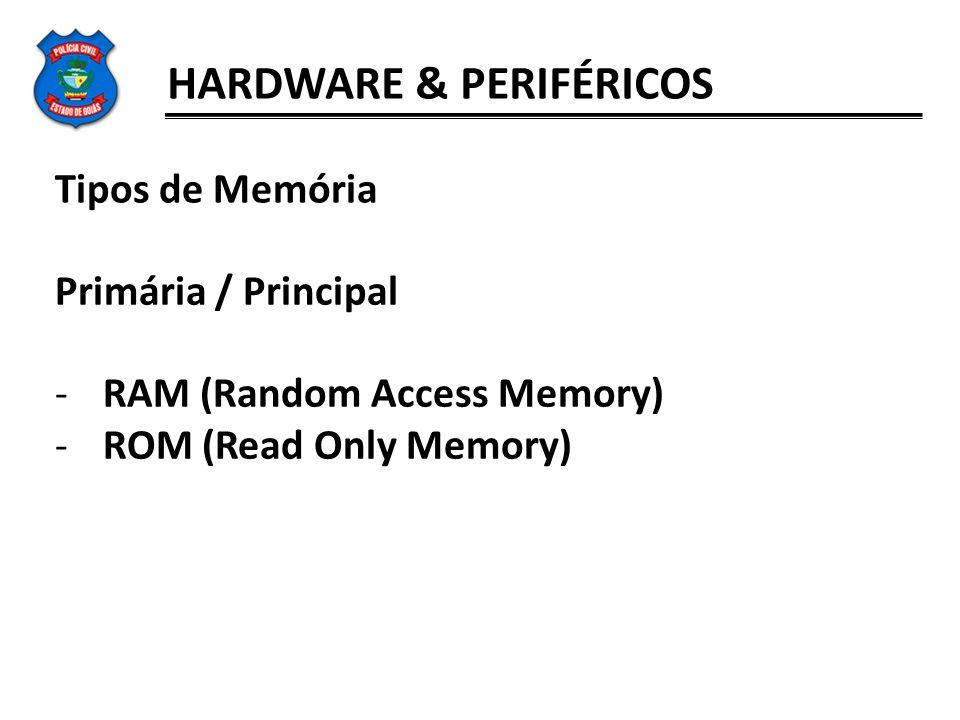 HARDWARE & PERIFÉRICOS Tipos de Memória Primária / Principal -RAM (Random Access Memory) -ROM (Read Only Memory)