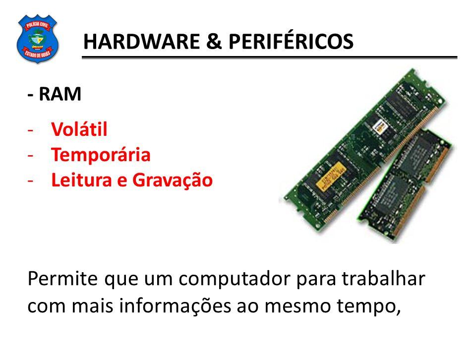 HARDWARE & PERIFÉRICOS - RAM -Volátil -Temporária -Leitura e Gravação Permite que um computador para trabalhar com mais informações ao mesmo tempo,