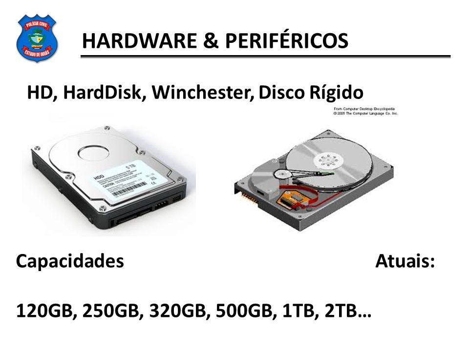 HARDWARE & PERIFÉRICOS HD, HardDisk, Winchester, Disco Rígido Capacidades Atuais: 120GB, 250GB, 320GB, 500GB, 1TB, 2TB…