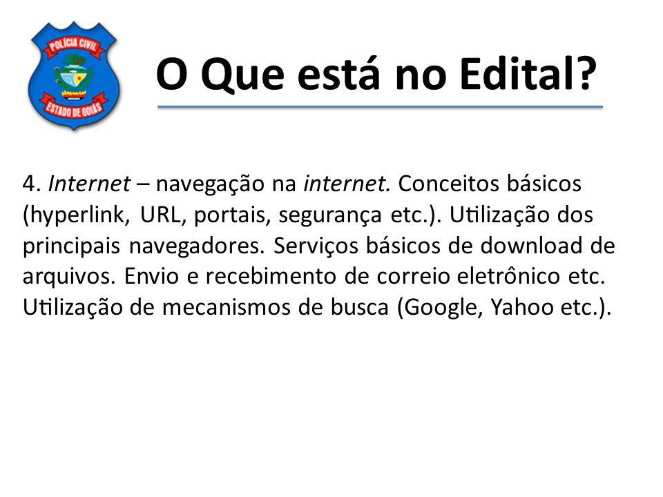 O Que está no Edital? 4. Internet – navegação na internet. Conceitos básicos (hyperlink, URL, portais, segurança etc.). Utilização dos principai