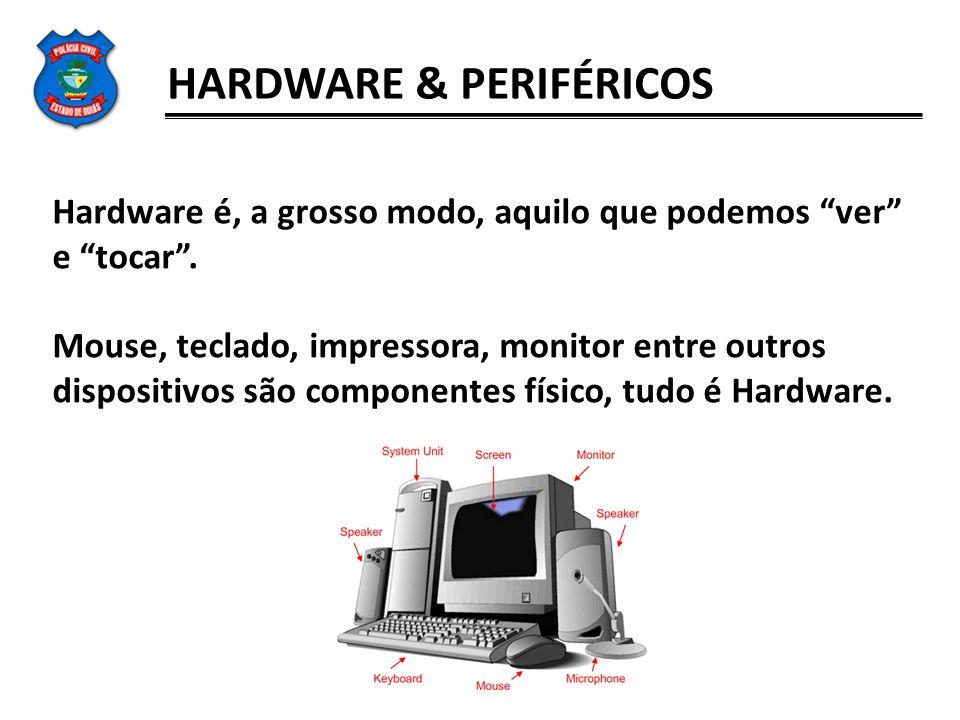 HARDWARE & PERIFÉRICOS Hardware é, a grosso modo, aquilo que podemos ver e tocar. Mouse, teclado, impressora, monitor entre outros dispositivos são co