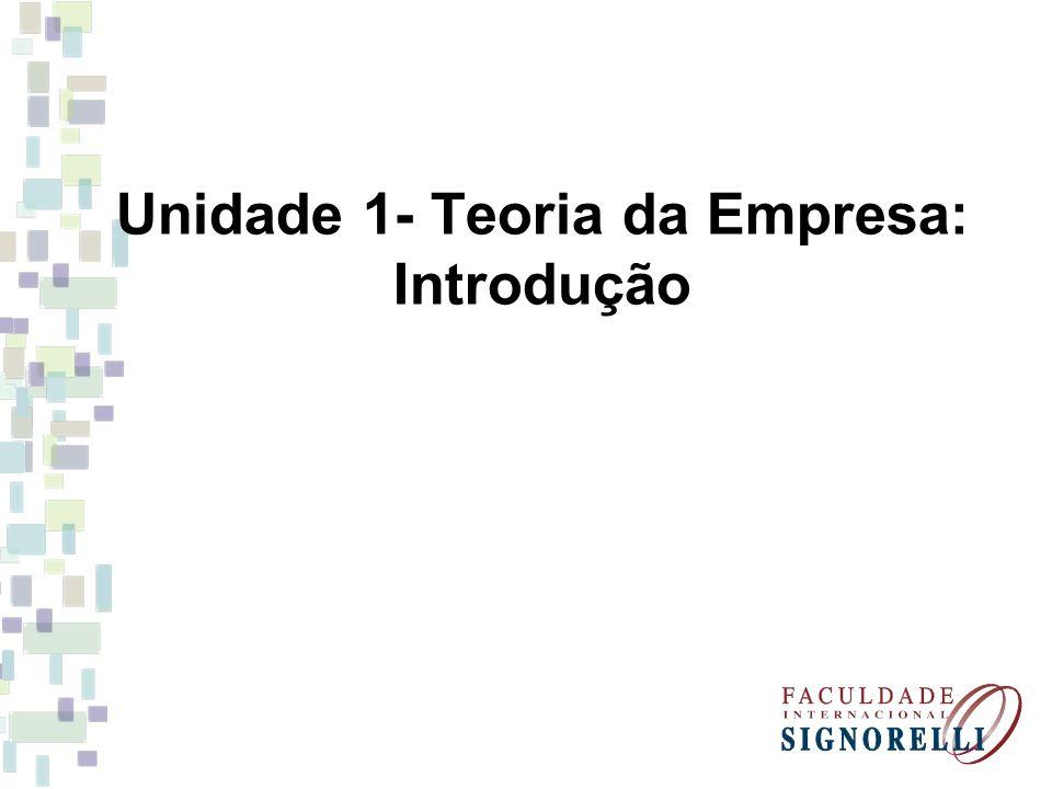 Unidade 1- Teoria da Empresa: Introdução
