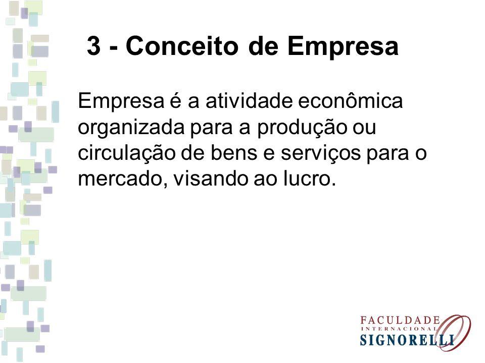 3 - Conceito de Empresa Empresa é a atividade econômica organizada para a produção ou circulação de bens e serviços para o mercado, visando ao lucro.