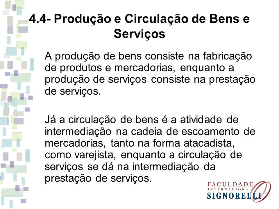 4.4- Produção e Circulação de Bens e Serviços A produção de bens consiste na fabricação de produtos e mercadorias, enquanto a produção de serviços con