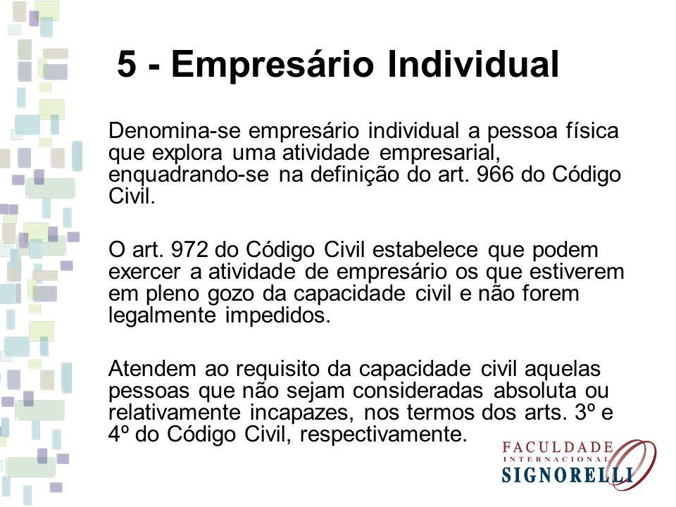 5 - Empresário Individual Denomina-se empresário individual a pessoa física que explora uma atividade empresarial, enquadrando-se na definição do art.
