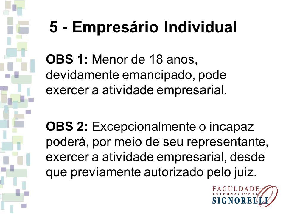 5 - Empresário Individual OBS 1: Menor de 18 anos, devidamente emancipado, pode exercer a atividade empresarial. OBS 2: Excepcionalmente o incapaz pod