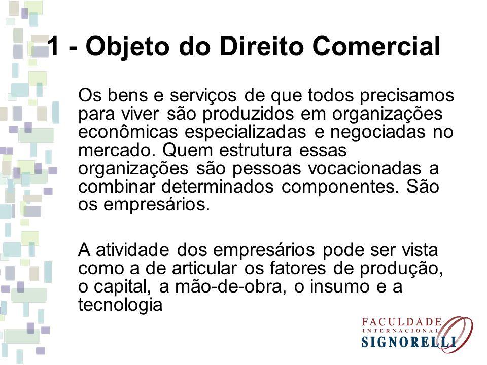 1 - Objeto do Direito Comercial O Direito Empresarial cuida dessa atividade econômica organizada denominada empresa.