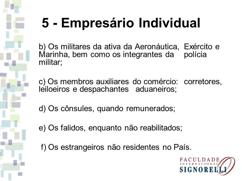 5 - Empresário Individual b) Os militares da ativa da Aeronáutica, Exército e Marinha, bem como os integrantes da polícia militar; c) Os membros auxil
