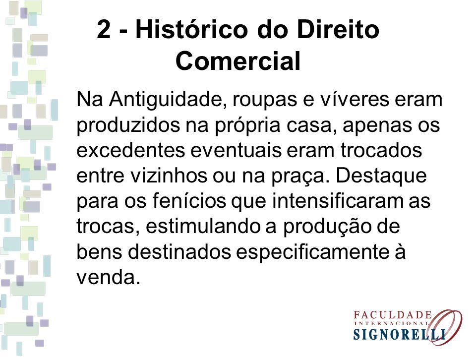 2 - Histórico do Direito Comercial Na Antiguidade, roupas e víveres eram produzidos na própria casa, apenas os excedentes eventuais eram trocados entr
