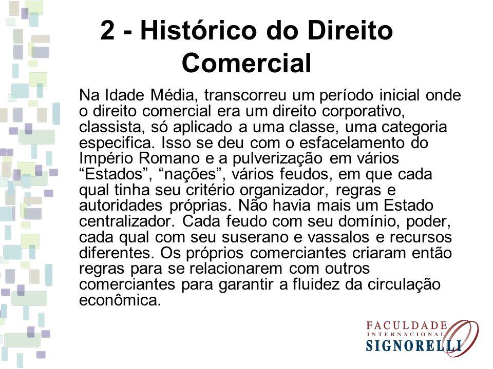 2 - Histórico do Direito Comercial Em seguida o Estado incorporou o Direito Comercial, constituído até então basicamente de regras consuetudinárias, fruto de costumes e convenções.