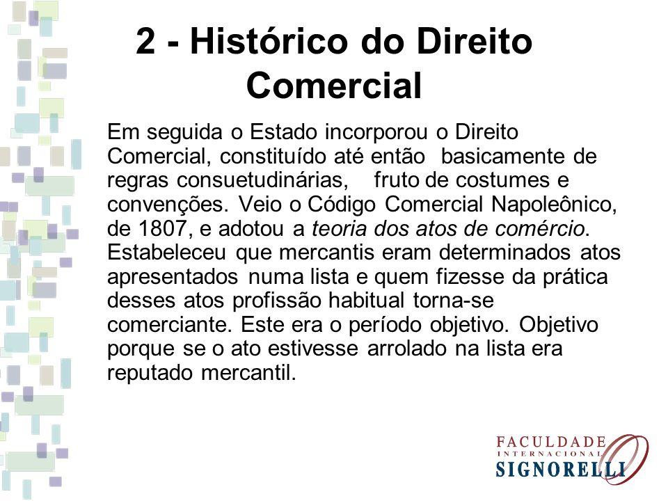 2 - Histórico do Direito Comercial Em seguida o Estado incorporou o Direito Comercial, constituído até então basicamente de regras consuetudinárias, f