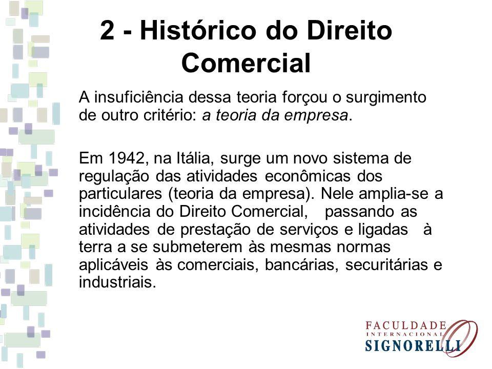 2 - Histórico do Direito Comercial A insuficiência dessa teoria forçou o surgimento de outro critério: a teoria da empresa. Em 1942, na Itália, surge