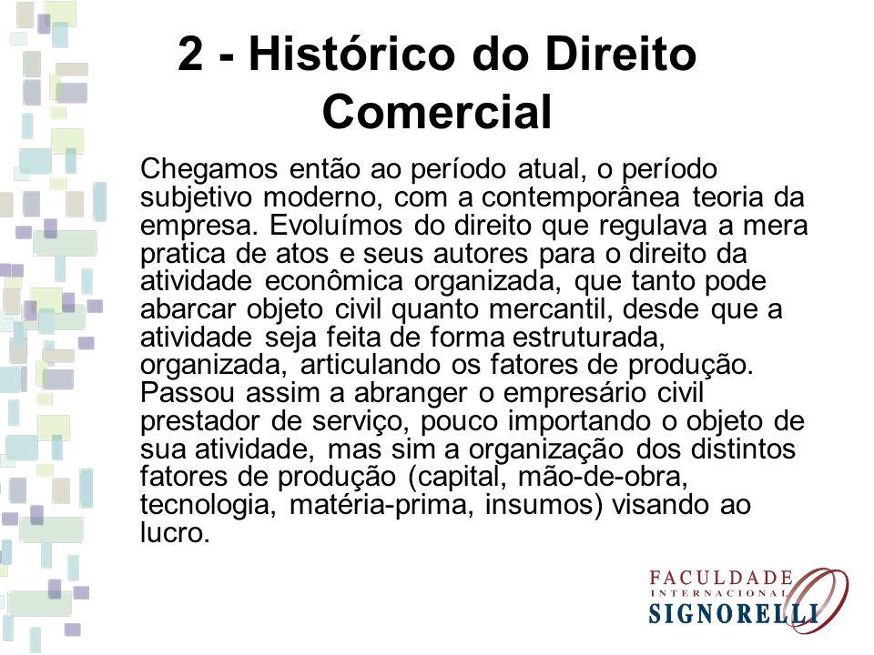 2 - Histórico do Direito Comercial Chegamos então ao período atual, o período subjetivo moderno, com a contemporânea teoria da empresa. Evoluímos do d