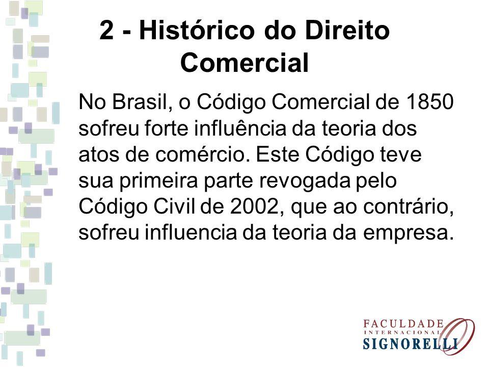 2 - Histórico do Direito Comercial No Brasil, o Código Comercial de 1850 sofreu forte influência da teoria dos atos de comércio. Este Código teve sua