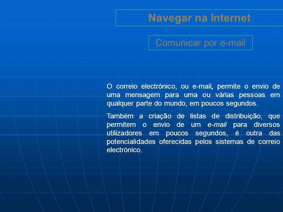 Navegar na Internet Cuidados a ter (Chat): Não dar dados pessoais numa sala de chat.