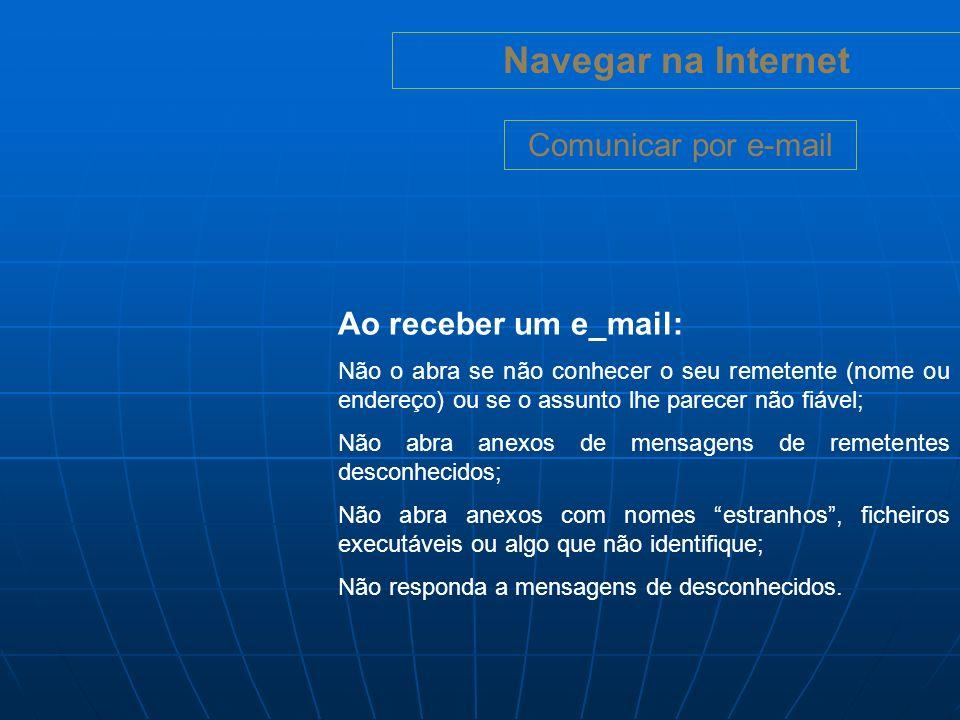 Navegar na Internet Chats e IM (Instant Messaging) Um chat (chatroom, ou sala de conversação) é um espaço online em que várias pessoas podem conversarem.