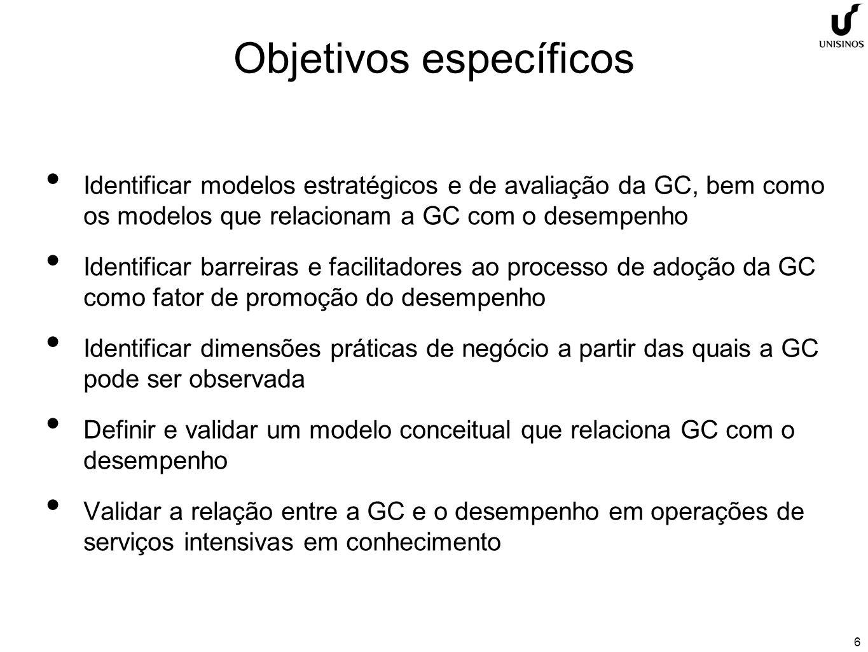 6 Objetivos específicos Identificar modelos estratégicos e de avaliação da GC, bem como os modelos que relacionam a GC com o desempenho Identificar barreiras e facilitadores ao processo de adoção da GC como fator de promoção do desempenho Identificar dimensões práticas de negócio a partir das quais a GC pode ser observada Definir e validar um modelo conceitual que relaciona GC com o desempenho Validar a relação entre a GC e o desempenho em operações de serviços intensivas em conhecimento