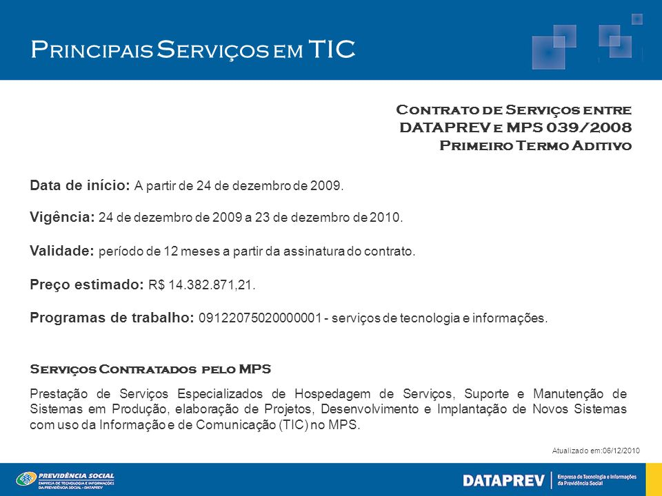 P rincipais S erviços em TIC Contrato de Serviços entre DATAPREV e MPS 039/2008 Primeiro Termo Aditivo Atualizado em:06/12/2010 Data de início: A part