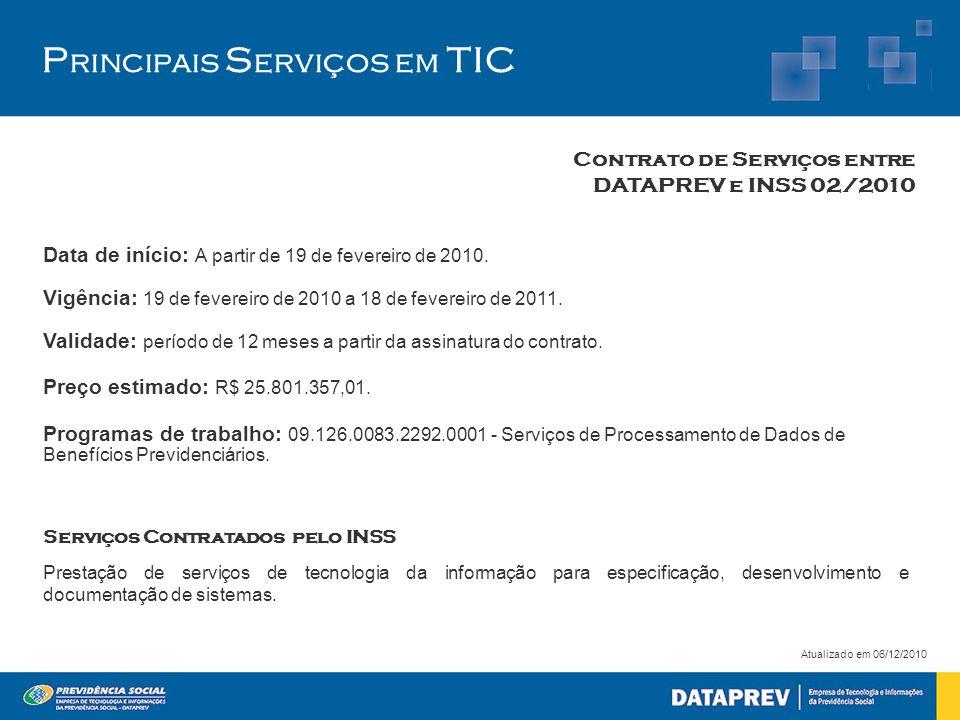 P rincipais S erviços em TIC Contrato de Serviços entre DATAPREV e INSS 02/2010 Atualizado em 06/12/2010 Data de início: A partir de 19 de fevereiro d