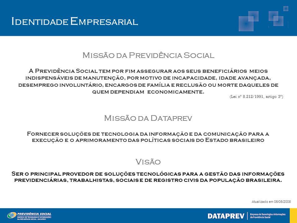 I dentidade E mpresarial Atualizado em 06/06/2008 Missão da Previdência Social A Previdência Social tem por fim assegurar aos seus beneficiários meios
