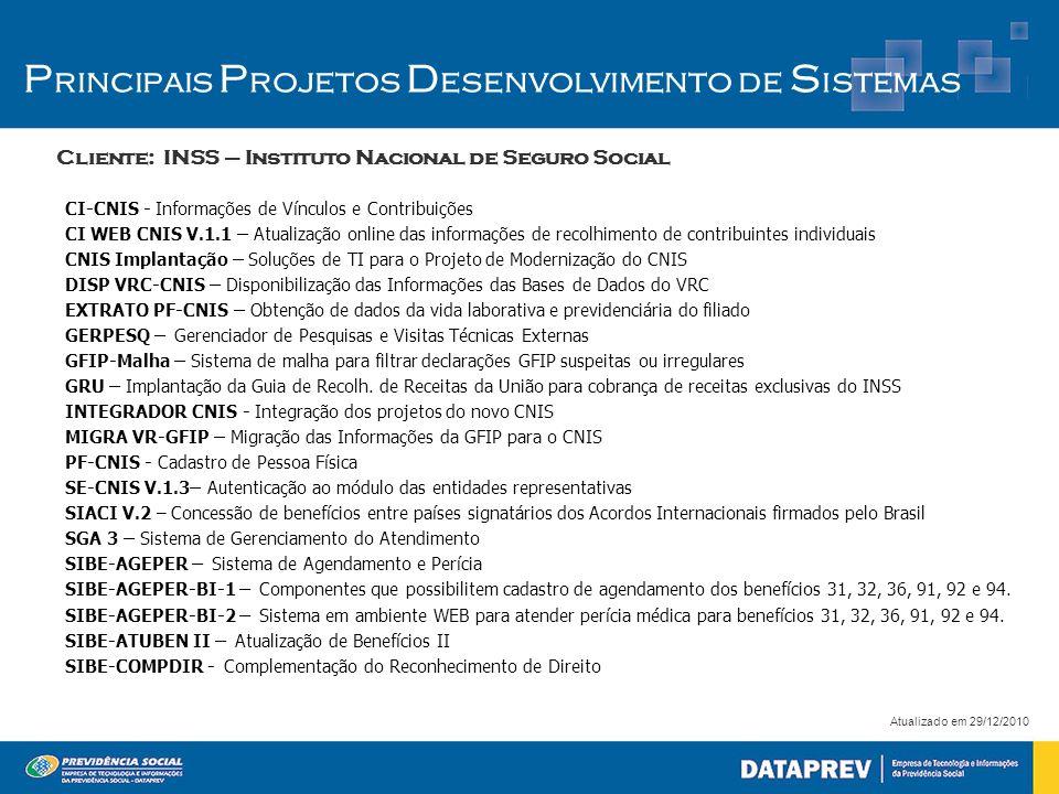 Cliente: INSS – Instituto Nacional de Seguro Social Atualizado em 29/12/2010 P rincipais P rojetos D esenvolvimento de S istemas CI-CNIS - Informações